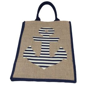 NWOT Burlap Tote with Striped Anchor